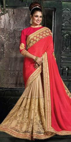 Beauty Red And Beige Chiffon Saree.