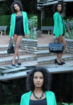 Urban Outfitters Black High Waist Lace Shorts, Tout L'monde En Parle Green Blazer and Black Heels from Bata by Lisa O. from France #batashoes #shoes #fashion