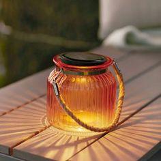 Rose Glass Solar Powered LED Cornish Jar Lantern