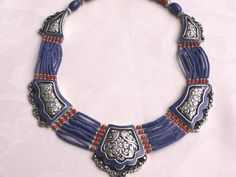 Vintage Nepalese lapis and coral necklace Tribal by beadartaustria, $225.00