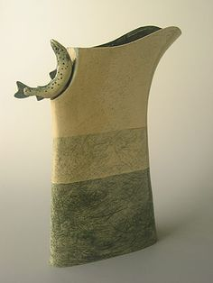Ceramics by Anna Lambert at Studiopottery.co.uk - Produced in 2004. Tall jug with salmon handle.