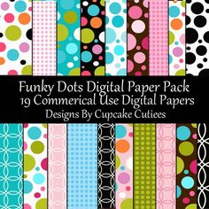 Funky Dots Commerical USE Digital Collage Sheets by cupcakecutiees, $5.00