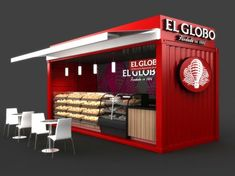 Very cool idea for El Globo; this can't be done for food vendors though, they have poisonus wood floor not suitable for food. It's cheaper to build from scratch anyways. // Mobile Container Café for El Globo on Behance Container Coffee Shop, Container Shop, Container Design, Cafe Shop Design, Kiosk Design, Food Stall Design, Shipping Container Cafe, Shipping Containers, Food Kiosk