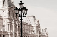 Paris Photography - The Louvre, Classic Black and White Sepia Photograph, Urban Home Decor, Wall Art, French Architecture $30.00