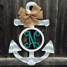 Wood Anchor with Monogram Initial