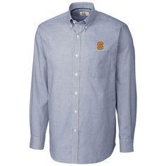 282ccb978 Men s Cutter   Buck Navy Syracuse Orange Tattersall Button-Down Long Sleeve  Shirt