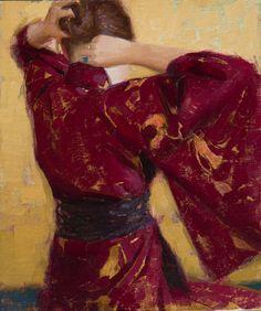 "Aaron Westerberg, ""Tying Her Hair"" - 11x9.5, oil on panel -- at Principle Gallery"