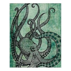 """Custom Beautiful Modern Art Abstract Painting Octopus Canvas Print 16"""" x 20"""" Inch, Stretched and Framed Artwork 7.99 + $4.99 shipping"""