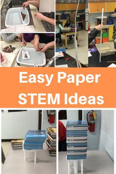 Here are three cheap and easy STEM ideas for the classroom, mainly using paper! These ideas could work for any grade, from upper elementary school to high High School Stem Activities, Stem High School, Steam Activities, Math Stem, Stem Science, Science Experiments, Physical Science, Science Lessons, Earth Science