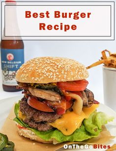 How to make The Best Burger Recipe. Good ingredients are key. Cheeseburger, burger or bacon burger. Ground beef topped with bacon, grilled onions and mushrooms. Smash burgers are quick, easy and so against the common rules! OnTheGoBites.Com #burgerrecipes #fiveguysburgers #smashburgers Guys Burgers Recipe, Best Burger Recipe, Burger Recipes, Snack Recipes, Dinner Recipes, Healthy Recipes, Picnic Recipes, Copycat Recipes, Breakfast Recipes