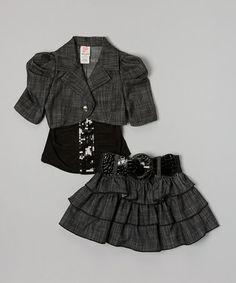 Another great find on #zulily! Black Denim Tiered Ruffle Skirt Set - Toddler & Girls #zulilyfinds