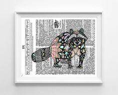 Raccoon Whimsical Illustration Nursery by GeorgiePearlDesigns, $10.00