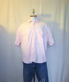 Vintage 80s STYLISH SURF SUMMER Saved By The Bell Style Pink Beach Large Cotton Baggy Button Up Shirt
