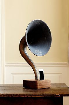 iPHONE SPEAKER DOCK: ReAcoustic owner Ryan Boase salvages horns from 1920s Magnavox gramophones for his fully acoustic docks.  Photo Credit: Brie Williams.