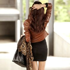 Motorcycle Style Cool Solid Color Vertical Zip Jacket [ghyxh340058] on Luulla