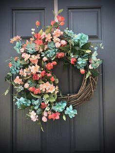 Coral Turquoise Wreath Spring Wreaths Spring Door Wreaths Door