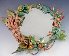 Polymer clay fantasy garden mirror by C F Originala