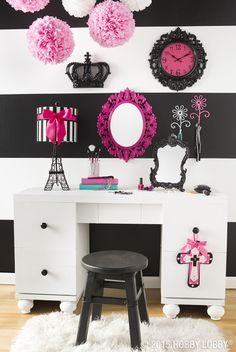 """Paris décor is always a good idea. This French-themed room will have the fashionista in your life saying, """"Magnifique!"""""""