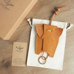 Elephant Leather Key Holder  Vegetable tanned by miniMoreLeather