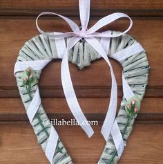 Rustic Flat Wicker Heart Wall Hanging  Baby Pink by illabella