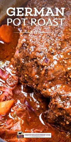 A classic meal of oven braised chuck roast and red cabbage, German Pot Roast is rich and hearty with onions, carrots, German mustard, and dark beer. Best Beef Recipes, Pot Roast Recipes, Beef Recipes For Dinner, Meat Recipes, Slow Cooker Recipes, Crockpot Recipes, Cooking Recipes, Game Recipes, Recipe For Pot Roast