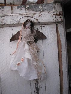 salvage angel  wall doll painting by kdmilsteinstudio on Etsy, $35.00