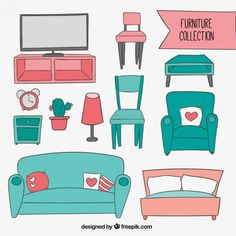 Sketchy furniture collection Free Vector