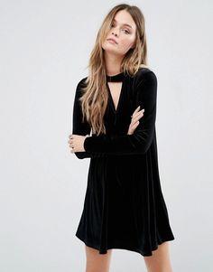 Glamorous | Glamorous Black Swing Dress With Choker Detail at Asos