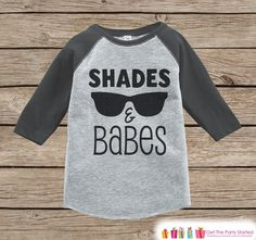 Shades and Babes Onepiece or Raglan - Summer Outfit For Kids - Grey Baseball Tee or Onepiece - Fun Summer Outfit for Baby, Youth, Toddler