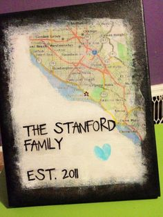 Image transfer of a map of our wedding location with a thumbprint heart and stenciled lettering. 1st anniversary gift.