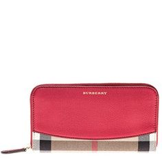 Burberry Women's House Check Zip Around Wallet Red