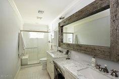 rustic mirror above couch in living area Rustic Mirrors, Wood Mirror, Bathroom Renos, Bathroom Ideas, Mirror Above Couch, Concrete Furniture, Reno Ideas, Pallet Ideas, Bath Room