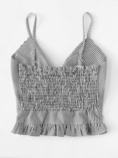 Shop Frill Trim Knot Front Cami Top at ROMWE, discover more fashion styles online. Lace Top Outfits, Casual Skirt Outfits, Cute Outfits, Striped Cami Tops, Cami Crop Top, Crop Tops, Plus Size Tank Tops, Ladies Dress Design, Fashion Outfits