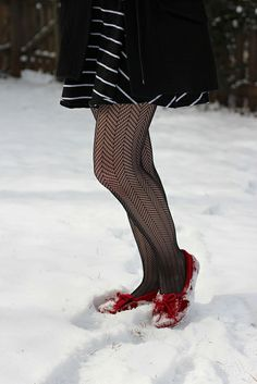 Fishnet Patterned Tights and Red Moccasins by petitepanoply, via Flickr
