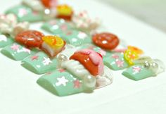 3D nails Japanese deco nails cupcake melon pan lemon by Aya1gou, $21.00