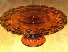 Vtg Indiana Glass Amber Teardrop Cake Plate Stand