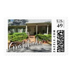 Gratitude Script w/ Your Cozy House Photo Postage - photography gifts diy custom unique special