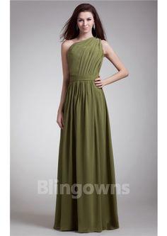 One Shoulder  Zipper A-line Sleeveless Floor Length Chiffon Ruched Bridesmaid Dresses