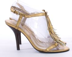 MICHAEL KORS GOLD METALLIC FRINGED VIENNA SANDAL SHOE SIZE 6