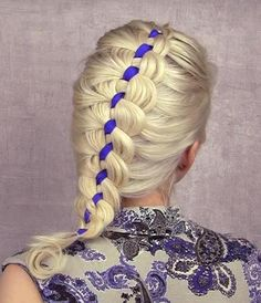 Ribbon and blonde and blonde braid plaiting