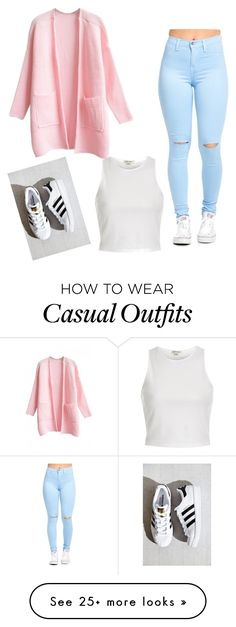 """Casual "" by irisn15 on Polyvore featuring adidas, WithChic and River Island"
