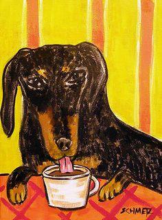 BLACK ANd TAN DACHSHUND coffee shop dog art print 8x10