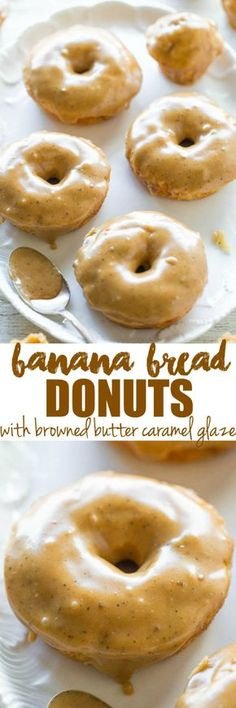 Banana Bread Donuts with Browned Butter Caramel Glaze - Banana bread in the form of soft, fluffy baked donuts and donut holes! No-mixer recipe that's as easy as making muffins! The glaze makes them I (Banana Recipes Easy) Just Desserts, Delicious Desserts, Dessert Recipes, Yummy Food, Dinner Recipes, Banana Recipes, Donut Recipes, Cooking Recipes, Bread Recipes