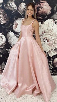 Pink Prom Dresses, Pink Dress, Cute Dresses, Event Dresses, Evening Gowns, Formal Evening Dresses, Formal Dresses, Formal Wear, Pink Satin