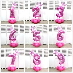 13pcs/set Blue and Pink Digital Number Crown Aluminum Foil Balloons Pillar Birthday Party Road Lead Baby Shower Party Decoration