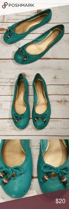 Teal leather flats Gently worn condition Has 2 small water spots on them see pics Very light weight Flexible and comfy Gianni Bini Shoes Flats & Loafers