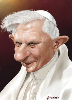 The Pope [Benedict] #Caricature #FunnyFaces [I swear this is the type of face that religious horror movies are made of]