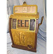 Antique Art Deco Caille Naked Lady Nude Slot Machine 25c Quarter Coin Operated