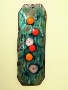 Pendant - Transparent Green Enamel with Melted Glass Beads on Textured Copper