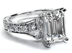 Large Emerald Cut Diamond Cathedral Graduated pave Engagement Ring 1.25 tcw. In 14K White Gold - Style Estate -